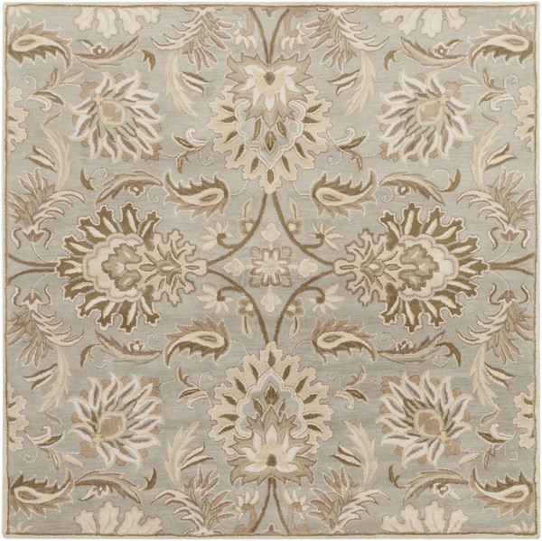 Caesar Gray Olive Taupe Wool Square Area Rug - 96 x 96 CAE1111-8SQ