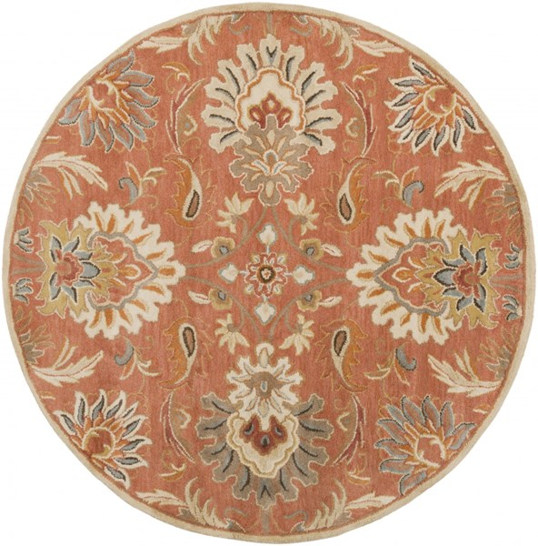 Caesar Rust Burnt Orange Olive Wool Round Area Rug - 72 x 72 CAE1112-6RD