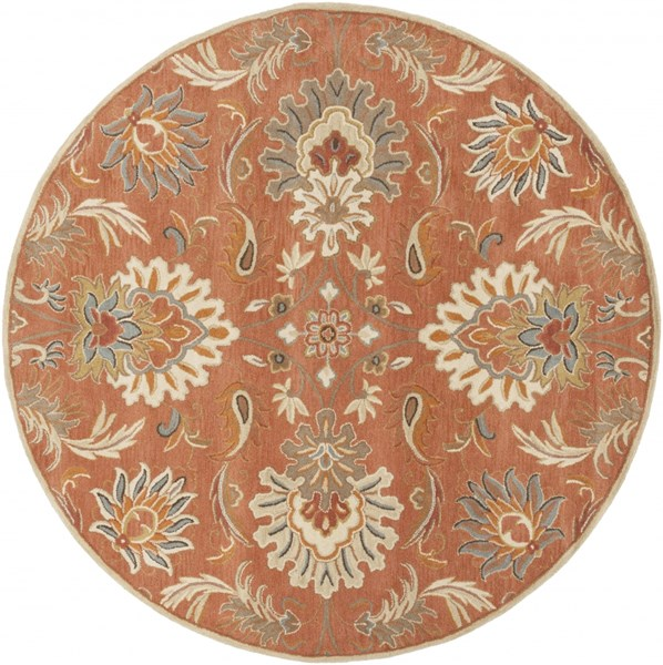 Caesar Rust Burnt Orange Olive Wool Round Area Rug - 96 x 96 CAE1112-8RD