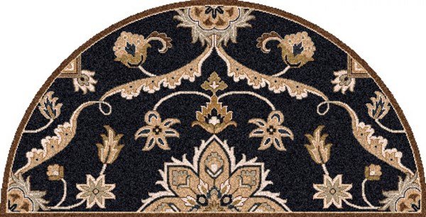 Caesar Traditional Navy Beige Taupe Fabric Area Rugs 1220-VAR1