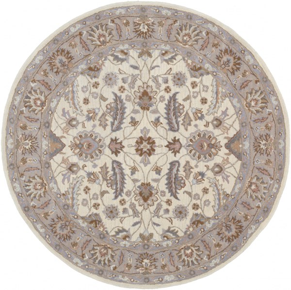 Caesar Ivory Mauve Light Gray Wool Round Area Rug - 72 x 72 CAE1115-6RD