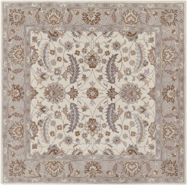 Caesar Ivory Mauve Light Gray Wool Square Area Rug - 96 x 96 CAE1115-8SQ