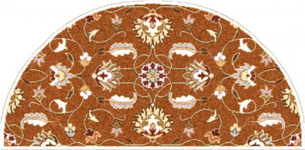Caesar Tan Mocha Burnt Orange Wool Hearth Area Rug - 24 x 48 CAE1117-24HM
