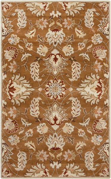 Caesar Tan Mocha Burnt Orange Wool Area Rug - 60 x 96 CAE1117-58