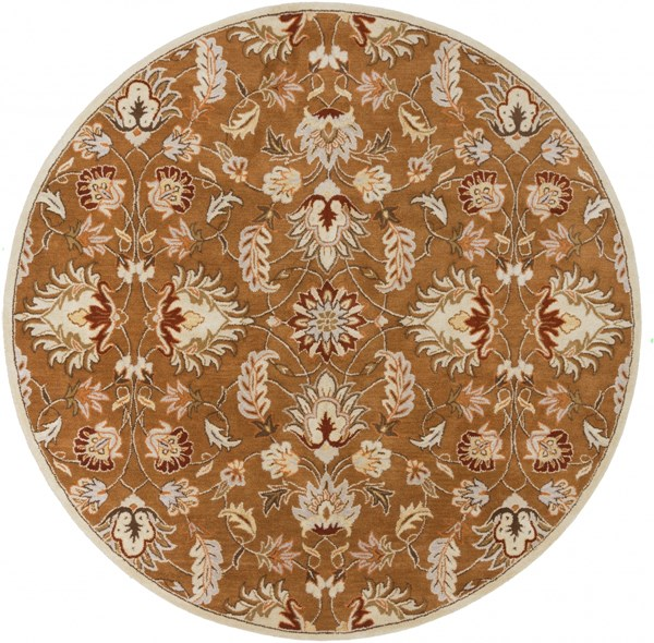 Caesar Tan Mocha Burnt Orange Wool Round Area Rug - 96 x 96 CAE1117-8RD