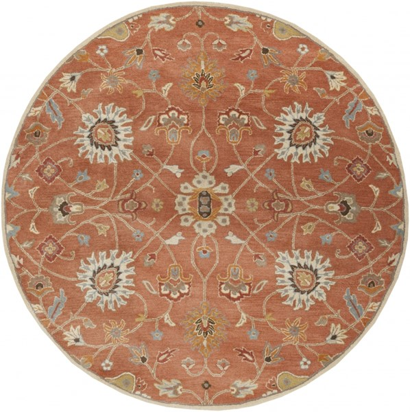 Surya Caesar Clay Camel Burnt Orange Wool Round Area Rug - 96x96 CAE1119-8RD