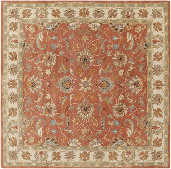Caesar Rust Beige Burnt Orange Wool Square Area Rug - 96 x 96 CAE1124-8SQ