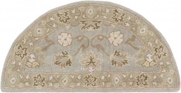 Caesar Olive Ivory Light Gray Wool Hearth Area Rug - 24 x 48 CAE1126-24HM