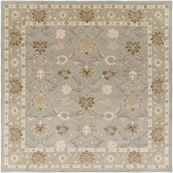 Caesar Olive Ivory Light Gray Wool Square Area Rug - 96 x 96 CAE1126-8SQ