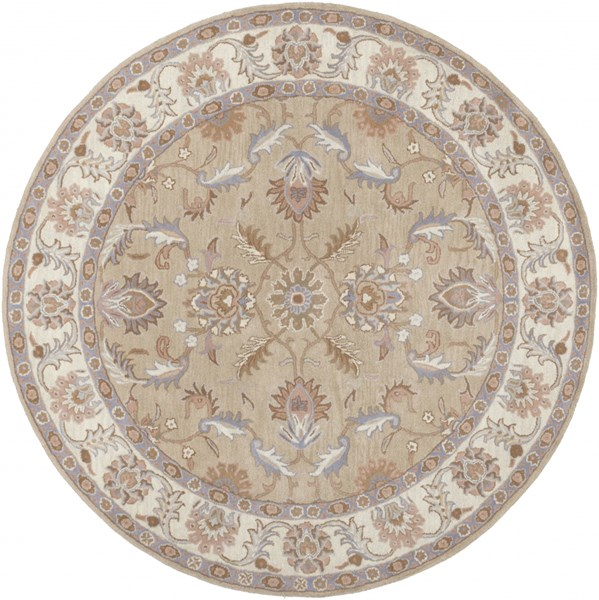 Caesar Charcoal Ivory Gray Wool Round Area Rug - 96 x 96 CAE1129-8RD