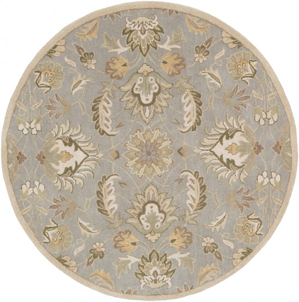 Caesar Traditional Moss Taupe Olive Fabric Area Rug (L 72 X W 72) CAE1140-6RD