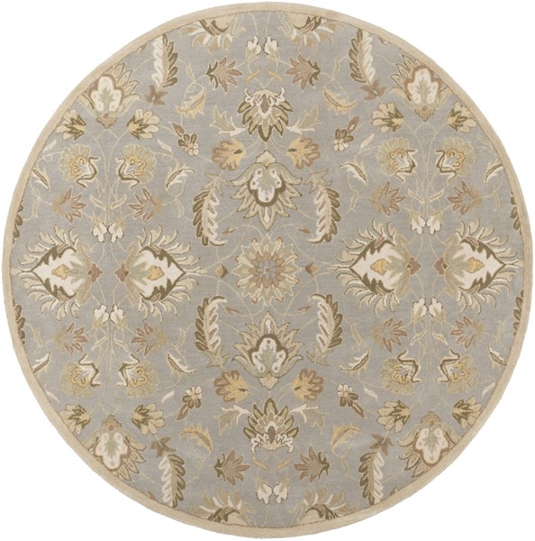 Caesar Moss Taupe Olive Wool Round Area Rug - 96 x 96 CAE1140-8RD