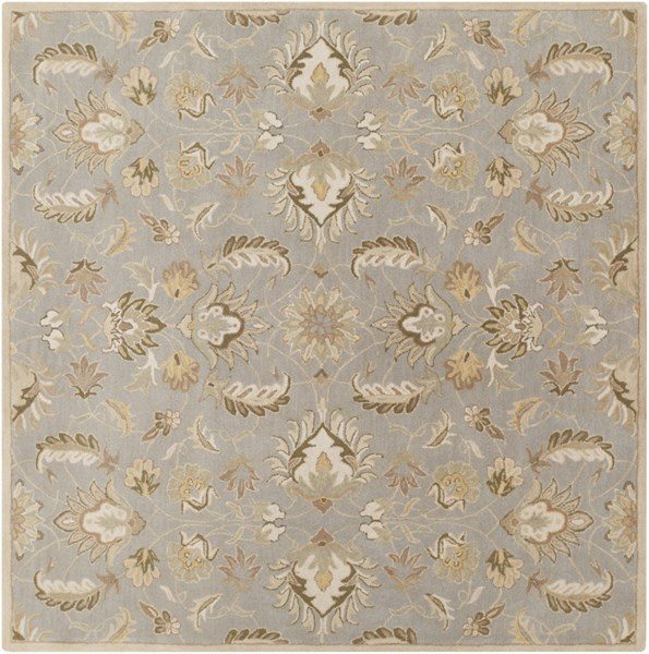 Caesar Moss Taupe Olive Wool Square Area Rug - 96 x 96 CAE1140-8SQ