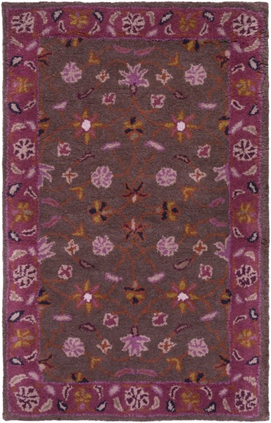 Caesar Traditional Chocolate Eggplant Rust Fabric Area Rugs 1222-VAR1