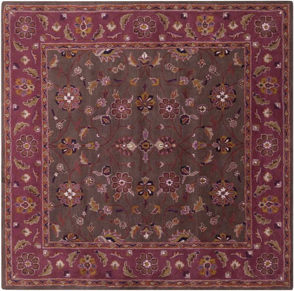 Caesar Chocolate Eggplant Rust Wool Square Area Rug - 96 x 96 CAE1141-8SQ