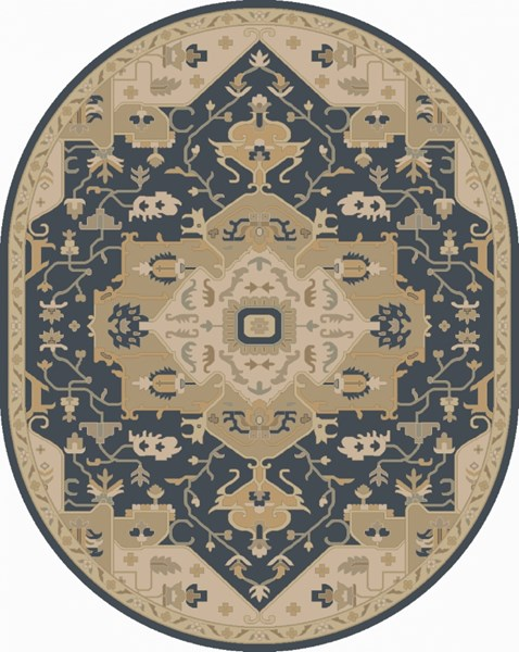 Caesar Navy Light Gray Slate Wool Oval Area Rug - 96 x 120 CAE1145-810OV