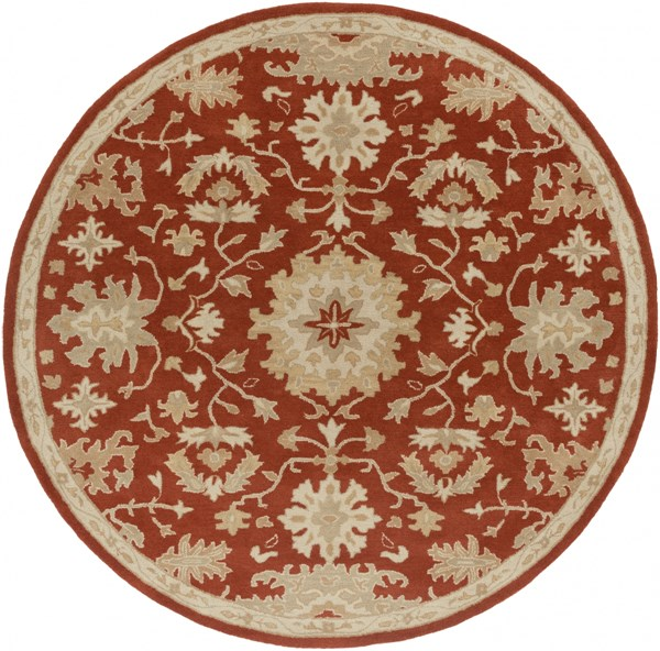 Caesar Burgundy Olive Light Gray Wool Round Area Rug - 96 x 96 CAE1148-8RD
