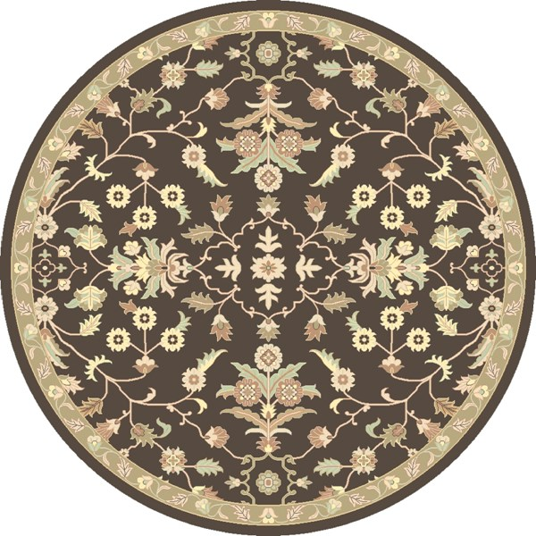 Caesar Chocolate Light Gray Beige Wool Round Area Rug - 96 x 96 CAE1150-8RD