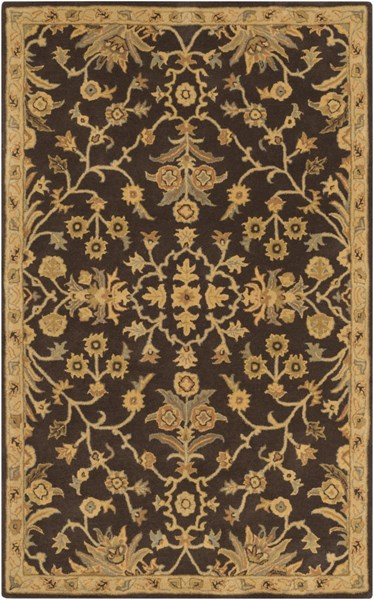 Caesar Black Gold Tan Wool Area Rug - 60 x 96 CAE1151-58