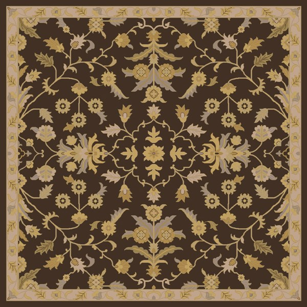 Caesar Black Gold Tan Wool Square Area Rug - 96 x 96 CAE1151-8SQ