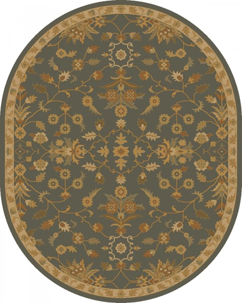 Caesar Charcoal Tan Rust Wool Oval Area Rug - 96 x 120 CAE1153-810OV
