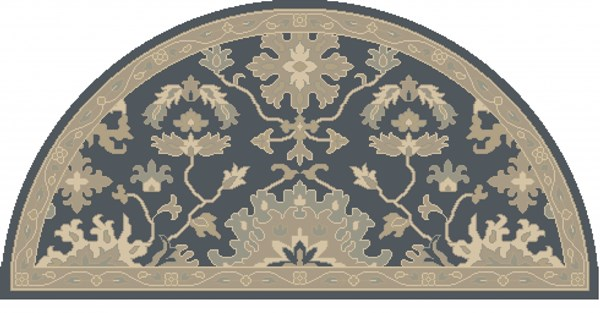 Caesar Navy Taupe Moss Wool Hearth Area Rug - 24 x 48 Hearth CAE1154-24HM