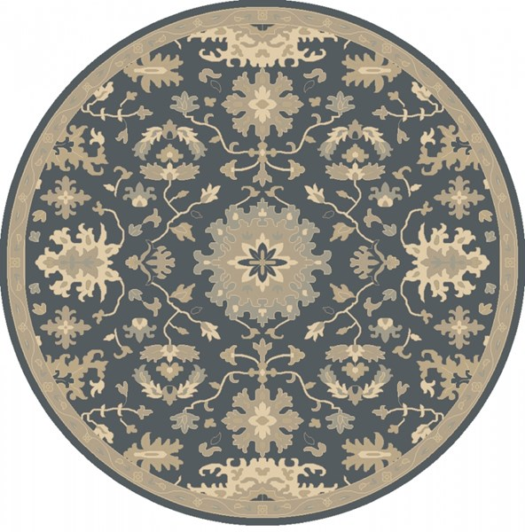 Caesar Navy Taupe Moss Wool Round Area Rug - 96 x 96 CAE1154-8RD