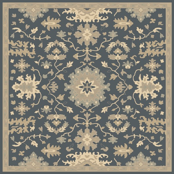 Caesar Navy Taupe Moss Wool Square Area Rug 8x8 The