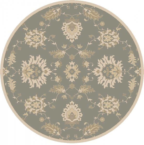 Caesar Ivory Olive Taupe Wool Round Area Rug - 96 x 96 CAE1156-8RD