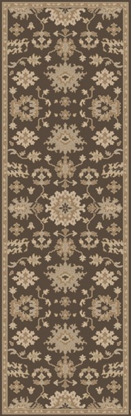 Caesar Chocolate Olive Light Gray Wool Runner - 30 x 96 CAE1158-268
