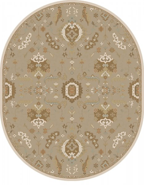 Caesar Olive Beige Forest Wool Oval Area Rug - 96 x 120 CAE1167-810OV