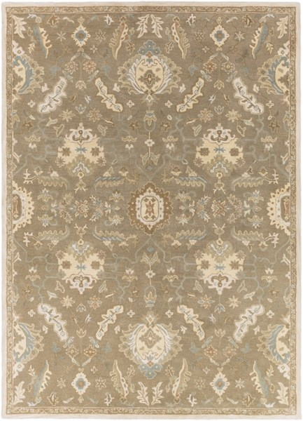Caesar Traditional Olive Beige Forest Fabric Area Rug (L 132 X W 96) CAE1167-811