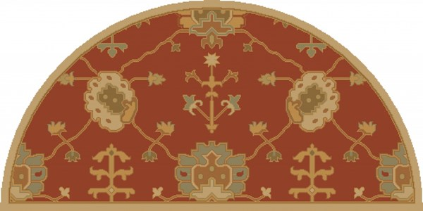 Caesar Traditional Rust Gold Olive Fabric Area Rugs 13064-VAR1