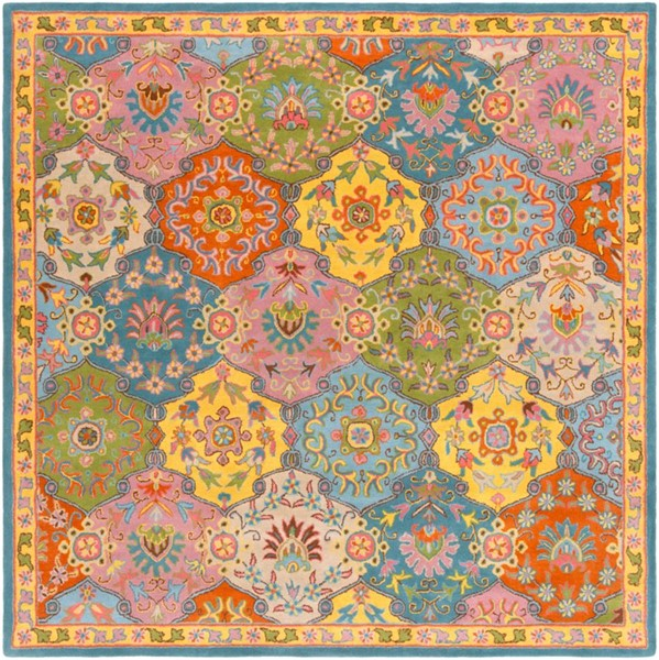 Surya Caesar Burnt Orange Bright Yellow Aqua Wool Square Area Rug 117x117 The Classy Home