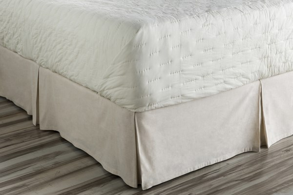 Clara Ivory Fabric Cotton King Bed Skirt (L 80 X W 78 X H 15) CAL5005-KSKT
