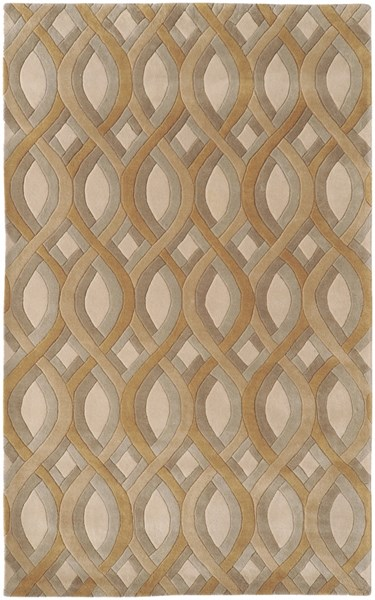Modern Classics Beige Olive Gray Wool Area Rug (L 96 X W 60) CAN1901-58