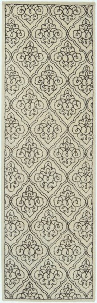 Modern Classics Contemporary Beige Chocolate Wool Runner (L 96 X W 30) CAN1913-268
