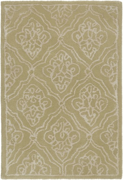 Modern Classics Contemporary Lime Beige Wool Area Rug (L 36 X W 24) CAN1914-23
