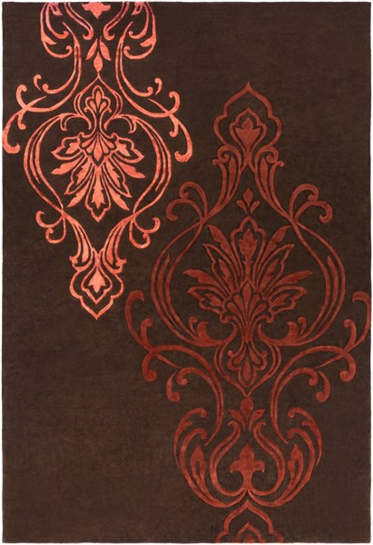 Modern Classics Burgundy Rust Chocolate Wool Area Rug (L 156 X W 108) CAN1950-913