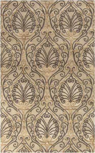 Modern Classics Taupe Gray Olive Wool Area Rug (L 96 X 60) CAN2013-58