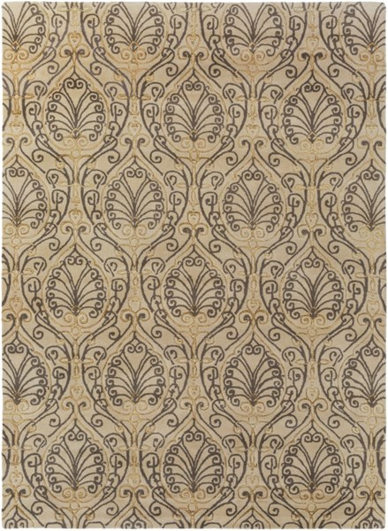 Modern Classics Taupe Gray Olive Wool Area Rug (L 132 X W 96) CAN2013-811