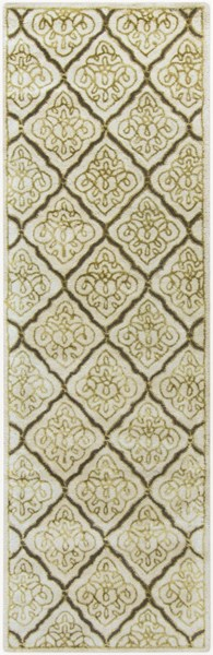 Modern Classics Contemporary Ivory Gold Gray Wool Runner (L 96 X W 30) CAN2014-268