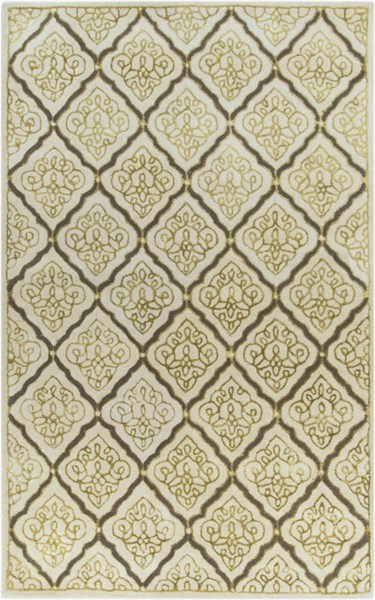 Modern Classics Ivory Gold Gray Wool Area Rug (L 96 X W 60) CAN2014-58