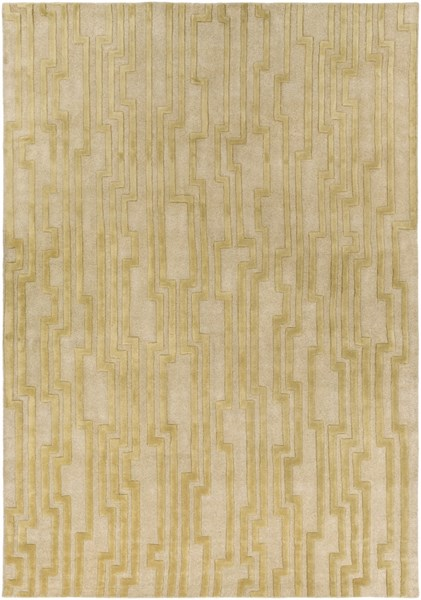 Modern Classics Contemporary Gold Beige Wool Area Rug (L 156 X W 108) CAN2020-913