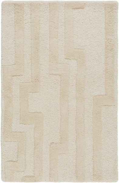 Modern Classics Contemporary Ivory Beige Wool Area Rug (L 36 X W 24) CAN2021-23