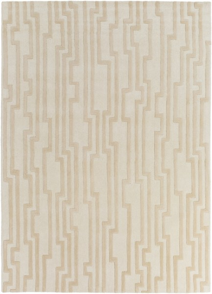 Modern Classics Contemporary Ivory Beige Wool Area Rug (L 132 X W 96) CAN2021-811