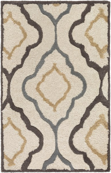 Modern Classics Ivory Chocolate Gray Wool Area Rug (L 36 X W 24) CAN2024-23