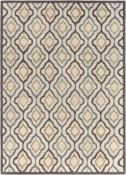 Modern Classics Ivory Chocolate Gray Wool Area Rug (L 132 X W 96) CAN2024-811