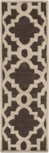 Modern Classics Contemporary Chocolate Beige Wool Runner (L 96 X W 30) CAN2035-268