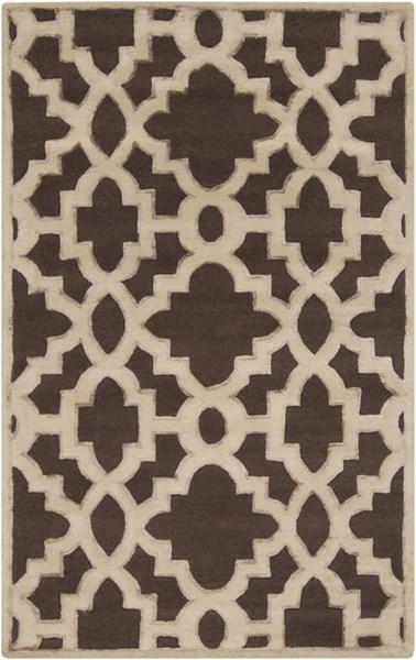 Modern Classics Chocolate Beige Wool Area Rug (L 96 X W 60) CAN2035-58